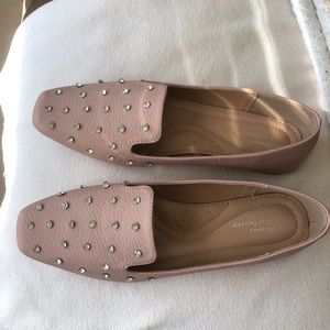 NWOT Light Pink Loafers With Studs
